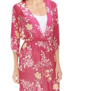 Vince Camuto floral sheer long tunic